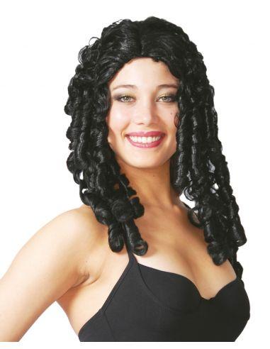 Peluca Tirabuzones Largos Negra  Tienda de disfraces online - venta disfraces