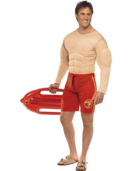 Disfraz Vigilante de la Playa Pecho Musculoso Tienda de disfraces online - venta disfraces