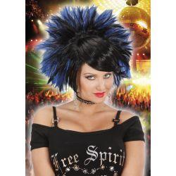 Peluca rock negra y azul mujer
