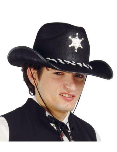 Sombrero Sheriff de Fieltro Negro Tienda de disfraces online - venta disfraces