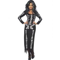 Disfraz Esqueleto negro y blanco para Mujer