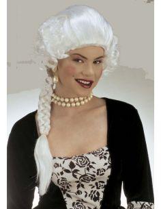 Peluca Época con Trenza Blanca Tienda de disfraces online - venta disfraces