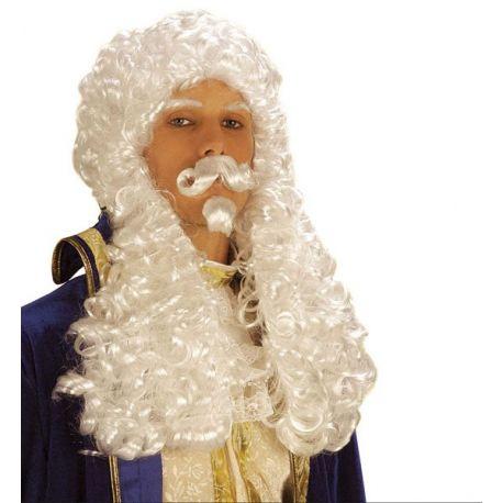 Peluca blanca con bigote y barbilla