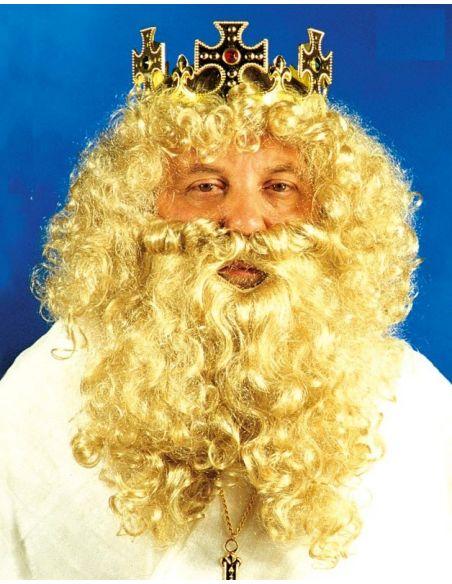 Peluca Barba y Bigote Rey Gaspar Rubio
