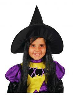 Sombrero Bruja con Pelo infantil Tienda de disfraces online - venta disfraces