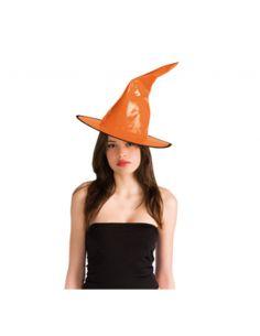 Sombrero Bruja Charol Naranja  Tienda de disfraces online - venta disfraces
