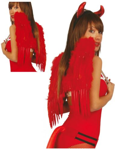 Alas Rojas de Plumas 50 cm. Tienda de disfraces online - venta disfraces