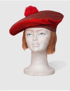 Boina Cuadros Escoceses con Pelo Tienda de disfraces online - venta disfraces