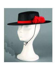 Sombrero Cordobés Negro con flor  Tienda de disfraces online - venta disfraces