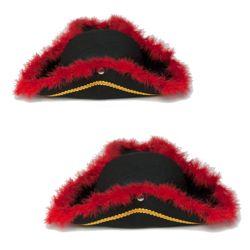 Sombrero Pirata con Marabú Rojo