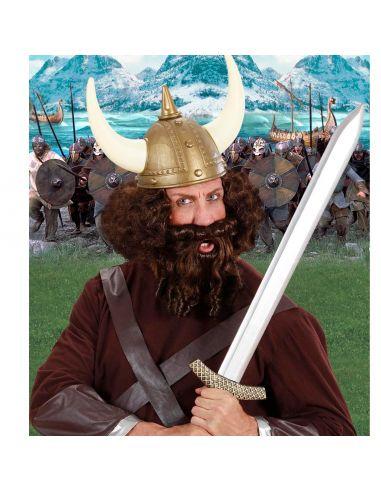 Peluca Rizada con Barba y Bigote Marrón Tienda de disfraces online - venta disfraces