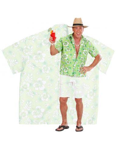 Camisa de Flores Hawaiana Verde Talla XL Tienda de disfraces online - venta disfraces