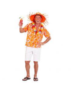Camisa de Flores Hawaiana Naranja para adulto Tienda de disfraces online - venta disfraces