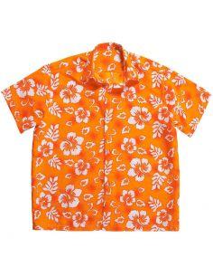 Camisa de Flores Hawaiana Naranja Talla XL Tienda de disfraces online - venta disfraces