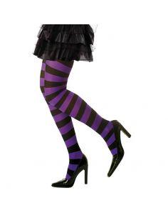 Medias Rayas violeta/negro XL Tienda de disfraces online - venta disfraces