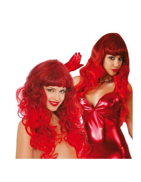 Peluca Glamour Larga con Flequillo Roja