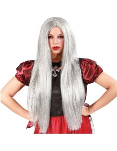 Peluca Larga Gris de Bruja Tienda de disfraces online - venta disfraces