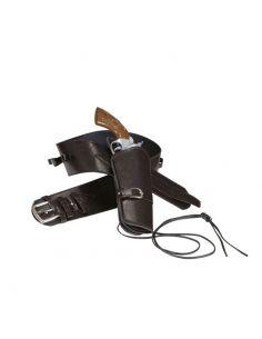 Cinturón con funda pistola marrón