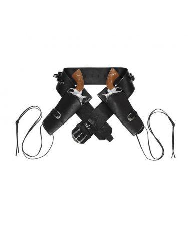 Cinturón doble funda pistola negra Tienda de disfraces online - venta disfraces