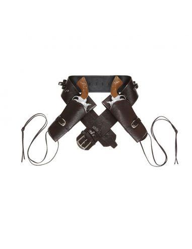 Cinturón doble funda pistola marrón Tienda de disfraces online - venta disfraces