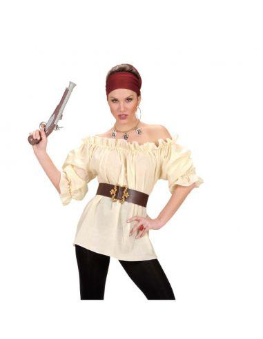 Camisa de Pirata en Beige para mujer Tienda de disfraces online - venta disfraces