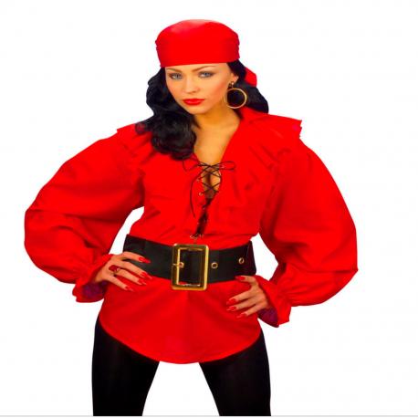 Camisa de Pirata en Rojo para mujer Tienda de disfraces online - venta disfraces