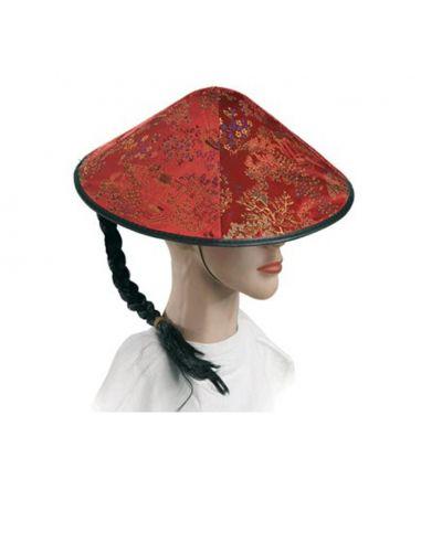 Sombrero Chino con Coleta en Rojo Tienda de disfraces online - venta disfraces