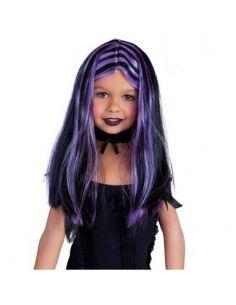 Peluca Brujita negra con mechas lila Tienda de disfraces online - venta disfraces