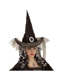 Sombrero Bruja con Tul Tienda de disfraces online - venta disfraces