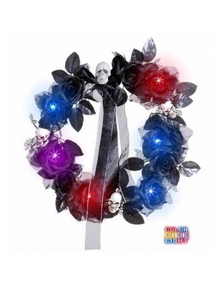 Corona de flores y calaveras con luz Tienda de disfraces online - venta disfraces