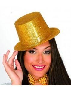 Sombrero Chistera escarcha oro Tienda de disfraces online - venta disfraces