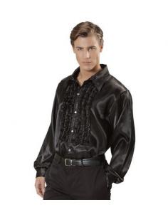 Camisa Raso con chorreras en negro Tienda de disfraces online - venta disfraces