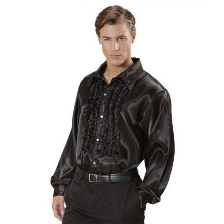 Camisa Raso con chorreras en negro XL Tienda de disfraces online - venta disfraces