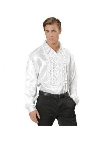Camisa Raso con chorreras en blanco XL Tienda de disfraces online - venta disfraces