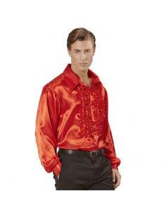 Camisa Raso con chorreras en rojo Tienda de disfraces online - venta disfraces