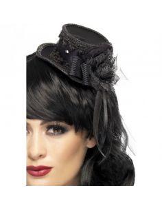 Sombrero mini chistera gótica en negro Tienda de disfraces online - venta disfraces