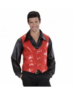 Chaleco para hombre lentejuelas rojo Tienda de disfraces online - venta disfraces