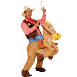 Disfraz Vaquero con Caballo Hinchable