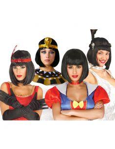 Peluca Egipcia con Flequillo Negra Tienda de disfraces online - venta disfraces