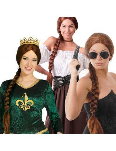 Peluca con Trenza Castaña Tienda de disfraces online - venta disfraces