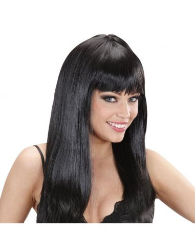 Peluca Larga Lisa con Flequillo Negra Tienda de disfraces online - venta disfraces