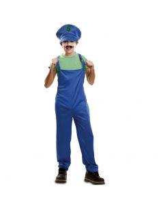 Disfraz Super Plumber Verde Infantil Tienda de disfraces online - venta disfraces