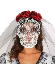 Diadema Calavera con velo Tienda de disfraces online - venta disfraces