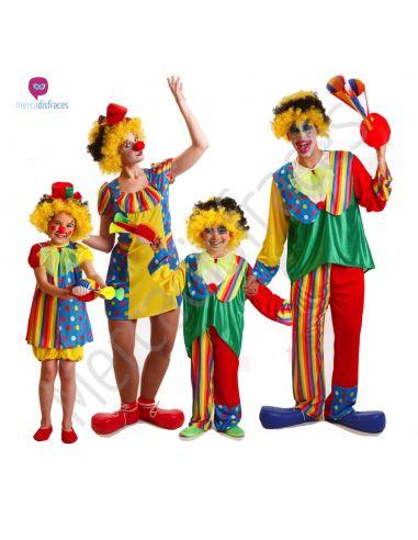 Disfraces de Carnaval de Payasos de Colores para grupos