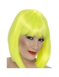 Peluca Media Melena con Flequillo Amarillo Tienda de disfraces online - venta disfraces