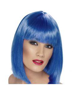 Peluca Media Melena con Flequillo Azul Tienda de disfraces online - venta disfraces