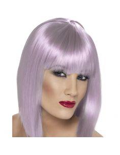 Peluca Media Melena con Flequillo Violeta Tienda de disfraces online - venta disfraces