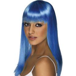 Peluca Melena con Flequillo Azul