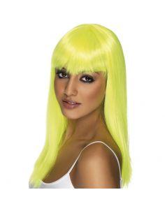 Peluca Melena con Flequillo Amarillo Fluor Tienda de disfraces online - venta disfraces