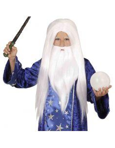 Peluca de Mago Merlín con Barba infantil Tienda de disfraces online - venta disfraces